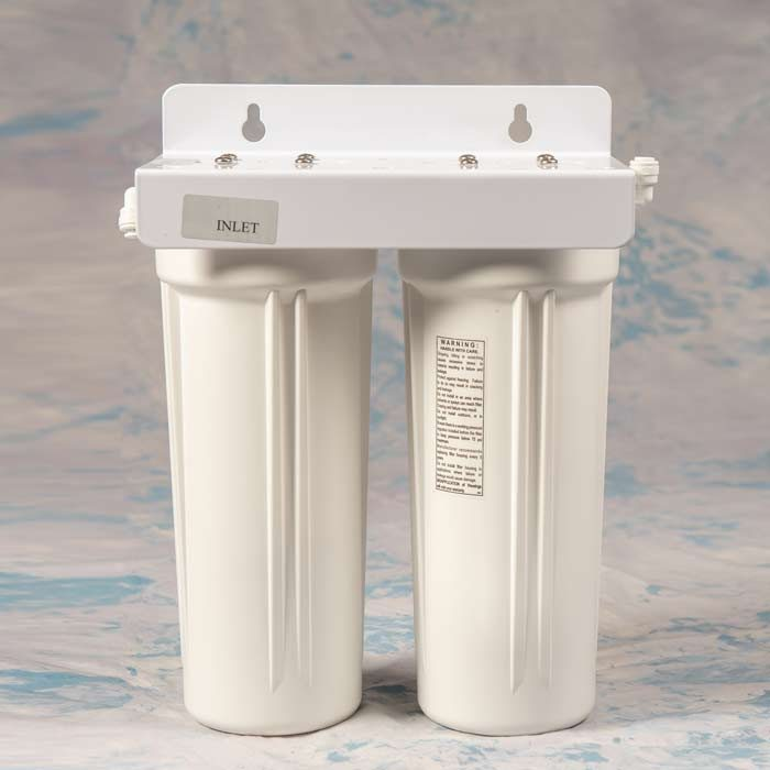 """10"""" Twin Undersink Filter 1/4"""" Ports and fittings"""